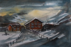 Winter Aquarell 40 x 50