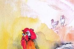Gockel Aquarell auf Leinwand 30x50