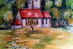 Kirche-Aqarell-auf-Leinwand-100-x-80